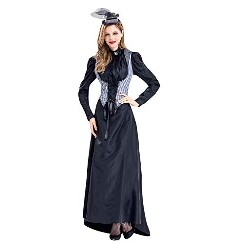 Obama And Michelle Costumes Halloween (LODDD Women Halloween Terror Cosplay Costume Vintage Witch Long Sleeve Dress Female Killer Costume)