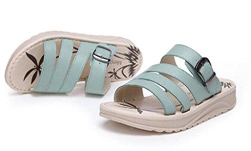 Zapatillas Tres Bottom 34 Mujer LIGHTGREEN Compras 37 Estudiantes Playa Flat XIE 3cm Cuero Grueso Bottom Verano Sandalias Colores Pink RvRqHwf
