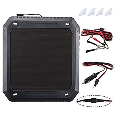 Paladin Solar Car Battery Charger,12V 5W Battery Trickle Charger Maintainer,Wheather-Resistant Solar Panel Power Charger,Portable Backup for Automotive, Motorcycle, Boat, Marine, RV, Trailer: Garden & Outdoor