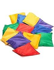 Prextex 16 Pack Nylon Bean Bags Fun Sports Game Bean Bag Carnival Toy Bean Bag Toss Game