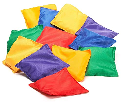 Prextex 16 Pack Nylon Bean Bags Fun Sports Outdoor Games Bean Bag Carnival Toy Bean Bag Toss Game -