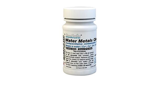 Lead Mercury 480309-50 Test Strips Zinc Copper Cadmium Sensafe/Water Metals Check Testing Kit for Iron Cobalt Nickel