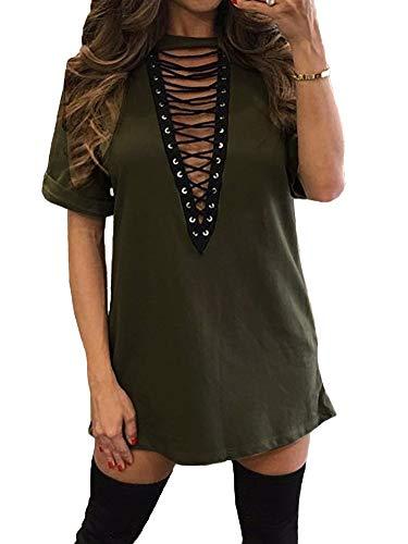 TOB Women's Sexy Halter Lace up Mini T Shirt Club Dress Dark Olive