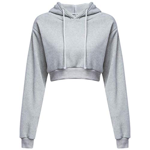 Clearance!Youngh New Women Solid Jumper Hooded Sweatshirt Short Sexy Loose Long Sleeve Cotton Blended Pullover Casual Fashion Hooded Pullover Tops Blouse by Youngh Top