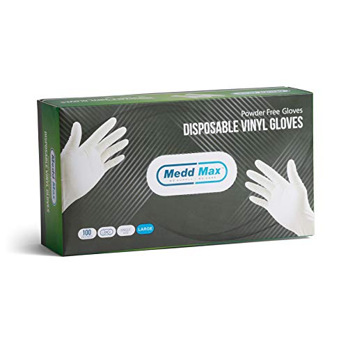 (Disposable Vinyl Gloves Powder Free Latex Free Allergy Free Multi-Purpose Heavy Duty Super Strength Cleaning Gloves Food Grade Kitchen Gloves (100 Large Gloves) )