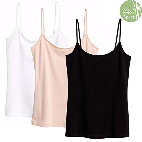 Fiya Camisoles for Women 3 Pack, Basic Solid Cami Strap Tank Top Tank Tops Plus Sizes