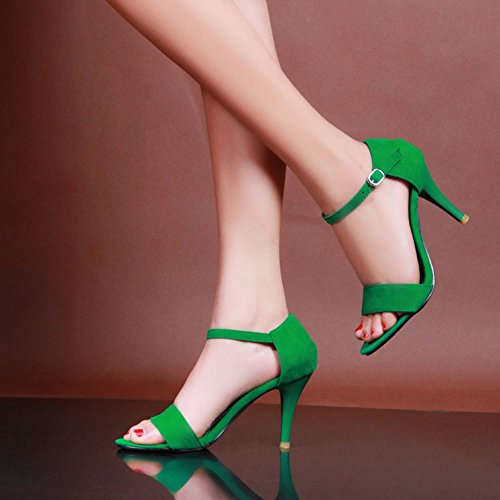 5CM Stiletto 8 Ankle Women Strap Heels Zanpa Sandals Green 6w0qxH