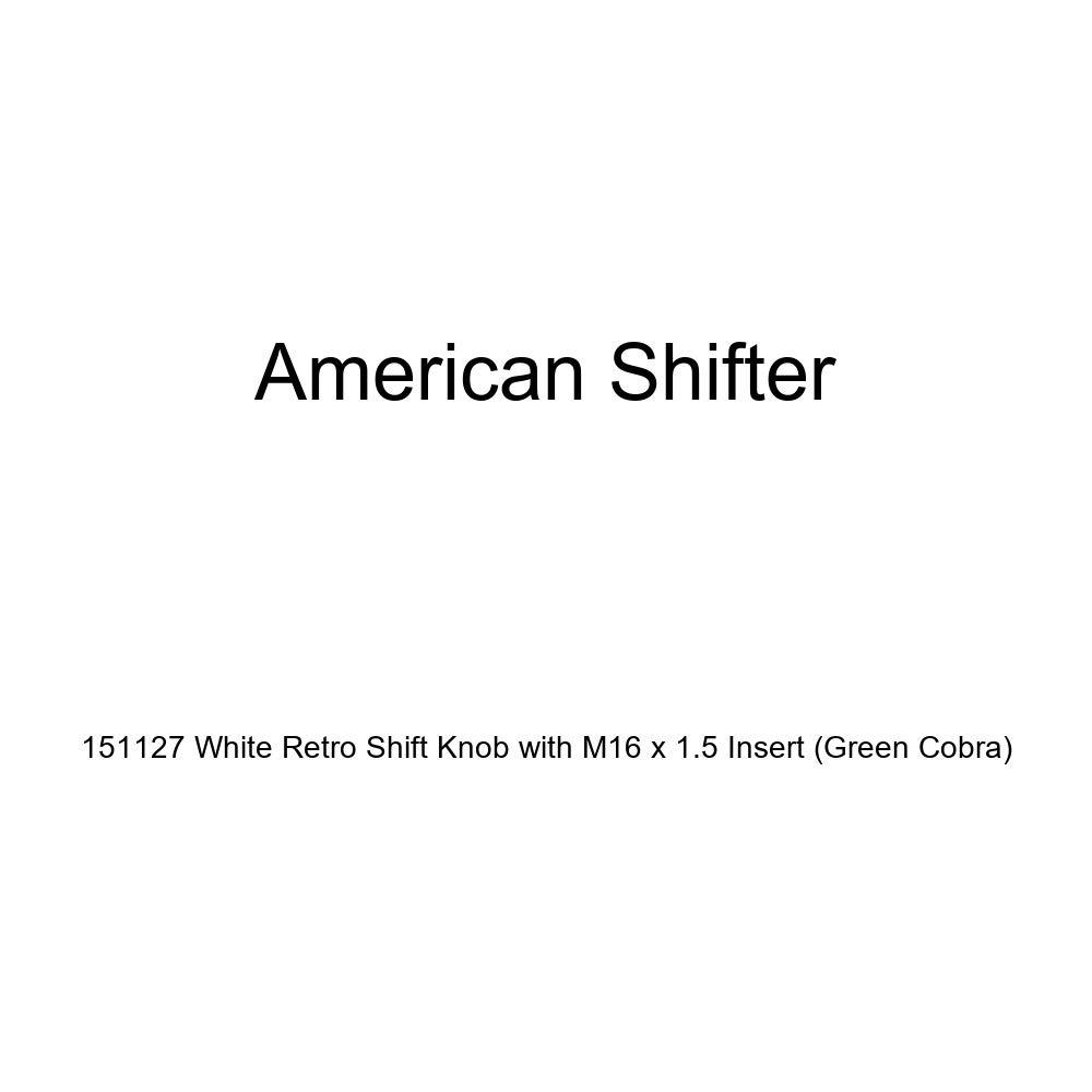 American Shifter 151127 White Retro Shift Knob with M16 x 1.5 Insert Green Cobra
