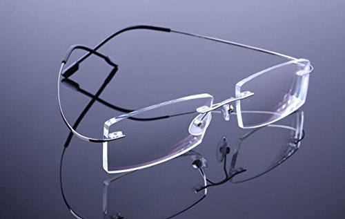 Lightweight Anti-fatigue Bendable Flex Arm Rimless Readers Silver Titanium Flexible Eyeglasses Reading Clear Vision Presbyopic Glasses Magnifying Glasses - Eyeglasses Titanium Bendable