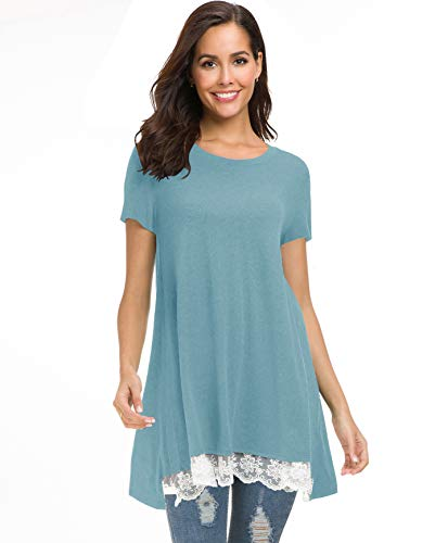 Afibi Womens Short Sleeve Tunic Tops A-Line Flowy Lace Trim Shirt Blouse (Medium, Tiffany ()