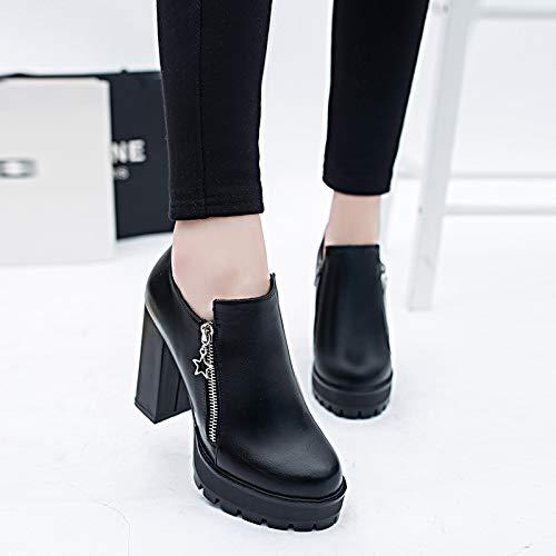 AGECC Zapatos Ásperos De Tacón Alto Zapatos De Mujer Profesionales para Mujeres Mesas Impermeables Zapatos De Cuero para Damas. black