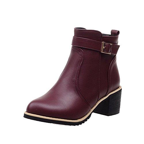 AllhqFashion Womens Kitten-Heels Solid Pointed Closed Toe Soft Material Zipper Boots Claret j2K9n5