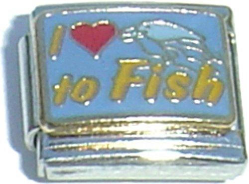 I Love To Fish Italian Charm