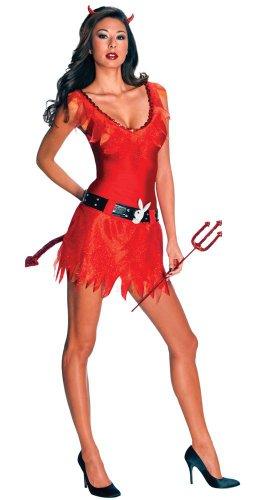[Secret Wishes Women's Playboy Adult Devil Costume, Multicolor, Medium] (Playboy Bunny Costume Red)