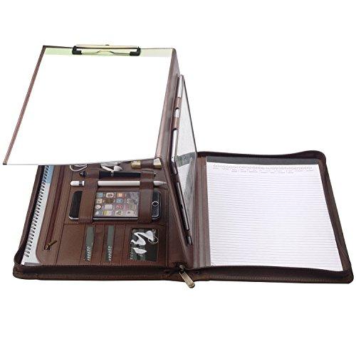 Zipper Organizer Padfolio with Folding Center Panel, Clipboard File Holder Portfolio for Samsung Galaxy Tab S3 9.7