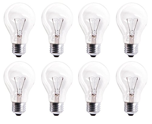 (Pack Of 8 60A19/CL 560 Lumens 60 Watt Standard Household A19 E26 (Medium) Base Crystal Clear Incandescent Rough Service Light Bulb)
