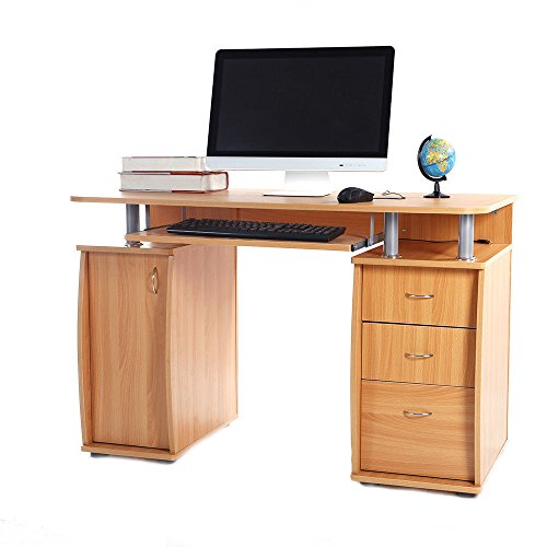 Cypress Shop Computer Table PC Laptop Tablet Desk Home Office Work Station Table Study Writing Learning Table with 3 Drawers Home Furniture ()