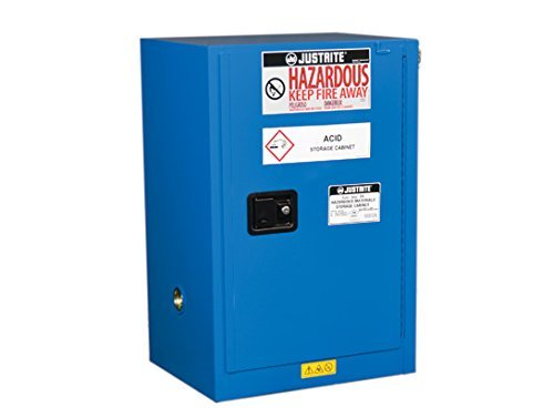 Justrite 861228 Countertop Hazardous material Steel Safety Cabinet, 12 gal, Steel, Blue Blue Steel Safety Cabinets