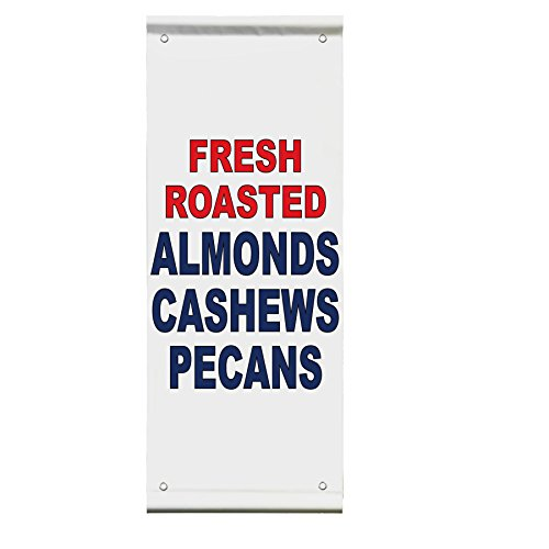 Pecan Wall Bracket - Fresh Roasted Almonds Cashews Pecans Red Restaurant Double Sided Pole Banner 24 in x 48 in w/ Wall Bracket