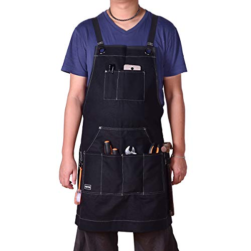 CMYK Work Apron, Heavy Duty Waxed Canvas Work Apron with Tool Pockets (Black), Heat & Flame-Resistant Aprons for Men & Women, Durable - Apron Bib Carpenters