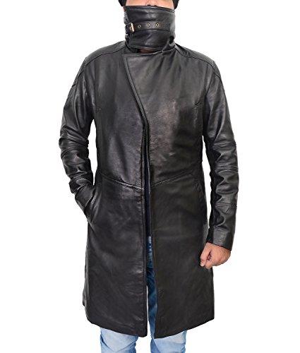 Abbraci Men Black Trench Coat Leather Mens Blade Runner 2049 Coats Long Shearling Cowboy Jacket Costume (Medium, Genuine Leather)