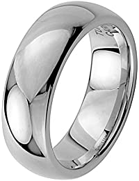 8MM Wellingsale® LUXE Series Cobalt Free, CLASSIC Comfort Fit Tungsten Wedding Band Ring with Smooth Rounded Edges for Comfortable Wearing in Mirror High Polished Finish for Men and Women (Multiple Sizes Available)