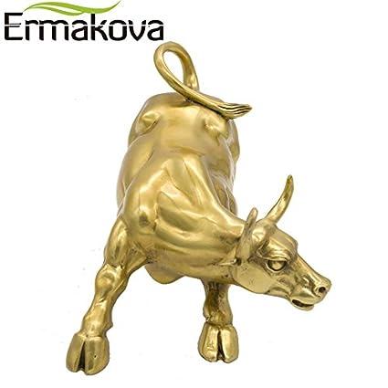 Buy Ermakova Golden Brass Charging Stock Market Bull Figurine Wall ...