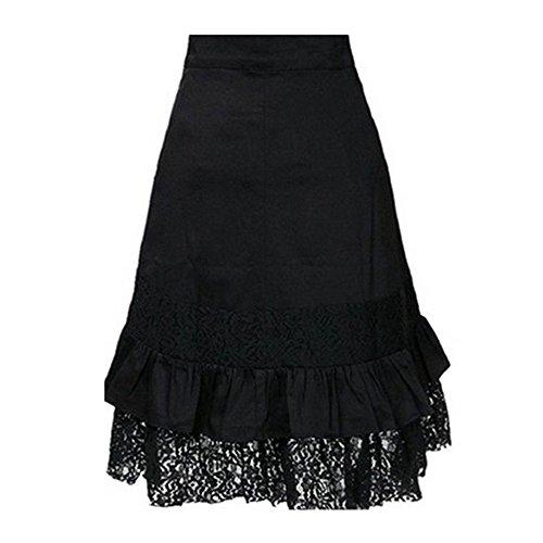 Women's Steampunk Skirt Girls Ladies Party Club Gothic Retro Black Lace Skirt(Black ,S)