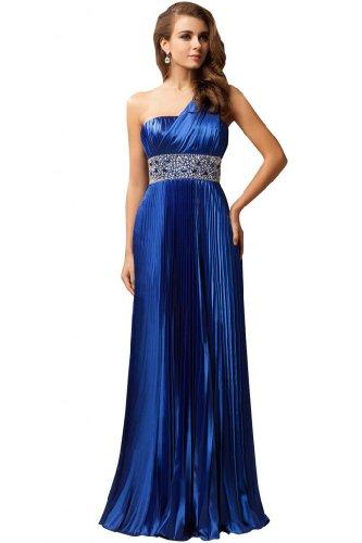lungo raso abito sera una con sera Blue Royal da A Sunvary strass spalla Line H4qwfwzE