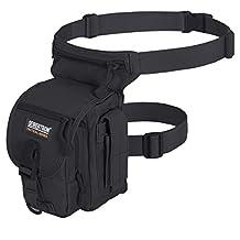 Seibertron Waterproof Airsoft Tactical Drop Leg Panel Utility Pouch Bag Type B Cross Over Leg Rig Outdoor Bike Cycling Hiking Hip/Thigh Bag Black