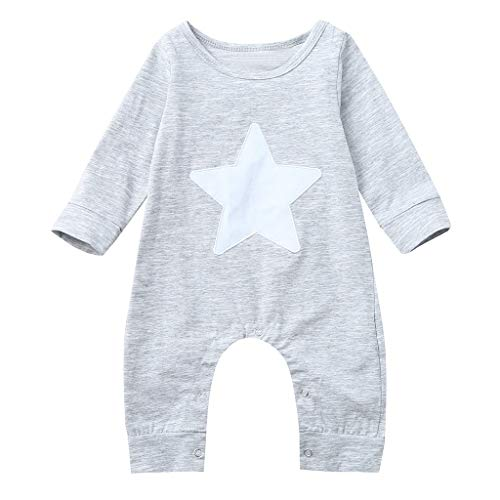 (SolwDa Newborn Baby 3 6 Months Long Sleeved Stars Print Romper Jumpsuit Toddler Clothes Unisex Sleep and Play Gray)