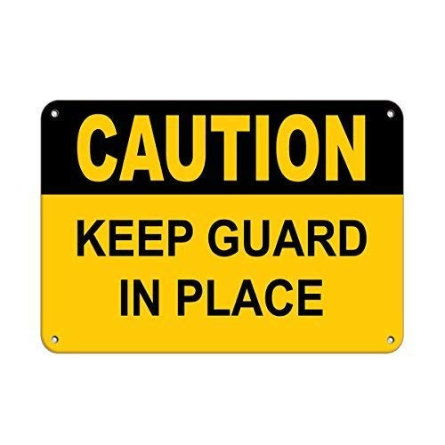 - Markil Warning Caution Keep Guard in Place Wall Decoration Retro Vintage Tin Sign for Bar Coffee Cafe Afternoon Tea Barbecue Shop