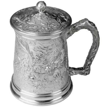 Royal Selangor Hand Finished Dragon Collection Pewter Oriental Dragon Tankard with Lid