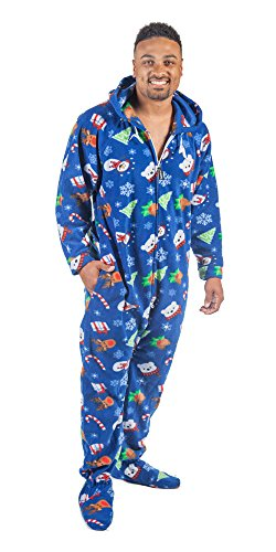 Forever Lazy Footed Adult Onesie - Happy Holidaze - M Christmas Onesies Adults
