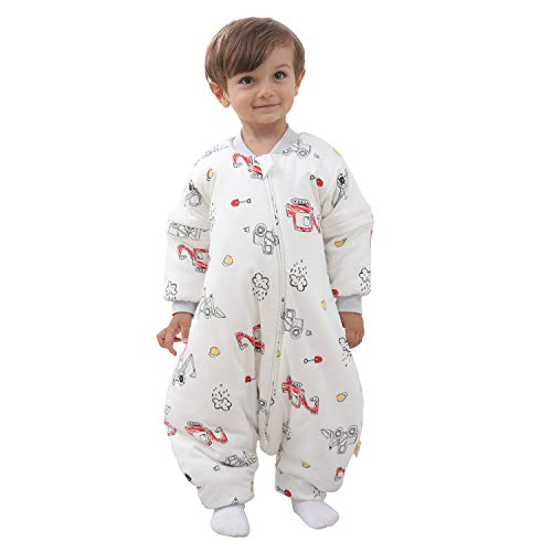 Mosebears Baby Winter Sleeping Bag with Legs, Baby Sleep Sack for Toddler Thicken 2.5 TOG (White,90(Baby height85cm-95cm(33.5-37.5inches)))