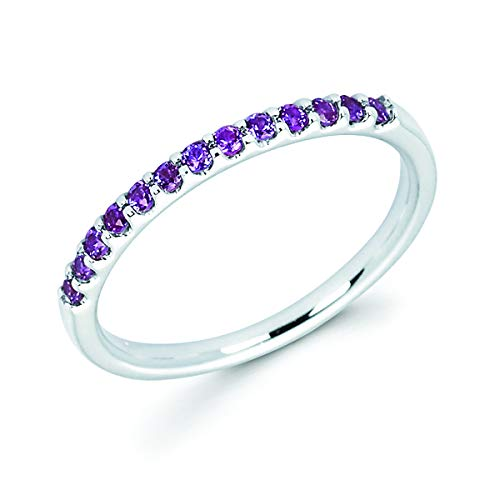 14K White Gold 1/4 Cttw Created Alexandrite Stackable 2MM Wedding Anniversary Band Ring - June Birthstone, Size 7