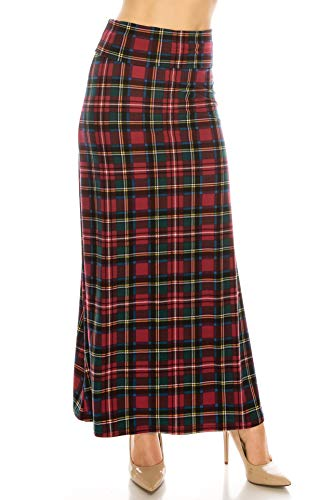 EEVEE Printed Foldover Waistband Fashionable Maxi Skirt Dress (Royal Stewart Tartan, One - Tartan Dress Stewart