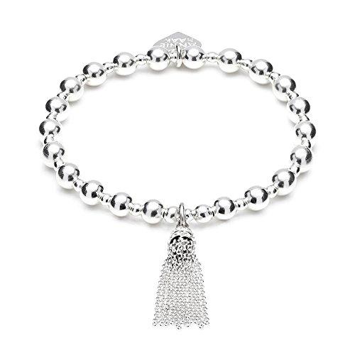 ANNIE HAAK Orchid Silver Charm Bracelet avec Tassel Charm, 6mm et 3mm Perle design Handcrafted avec Argent 925