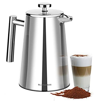 French Press Coffee Maker Stainless Steel, With Stainless Steel Screen Included - 50 Ounce (1.5 Liter) - By: Blümwares