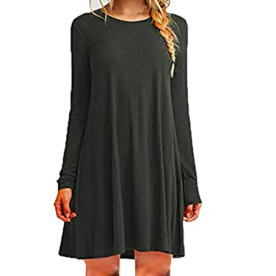 Muranba Womens Dresses Loose Casual O-Neck Long Sleeve Ruffles Mini Dress
