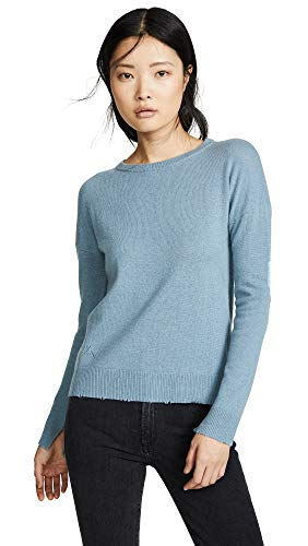 (Zadig & Voltaire Women's Bolt Patch Cashmere Sweater, Nuage, Blue, Medium)