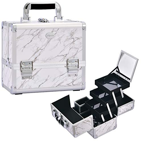 Joligrace Makeup Train Case Cosmetic Box 10 Inches Jewelry...