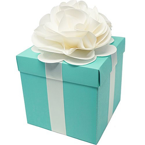 - Robin Egg Aqua Blue Wedding Centerpiece Favor Box with Lid & Self Adhesive Satin Ribbons & Ivory Tissue Paper Flower Bow (1 Count)