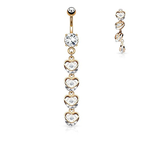 Gold Heart Dangle Belly (Covet Jewelry Four Vertical Drop CZ Hearts Dangle 316L Surgical Steel Belly Button Navel Rings (Rose Gold/Clear))