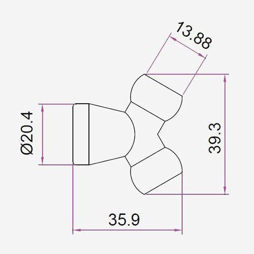 JETON 3//8 Coolant Hose Y-Connector 3//8