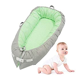Baby Newborn Lounger,Portable Ultra-Soft Baby Snuggle Nest,Removable Bionic Bassinet Cribs & Infants Nursery Beds| Breathable and Hypoallergenic Sleep-100% Cotton Crib Mattress for Bedroom/Travel
