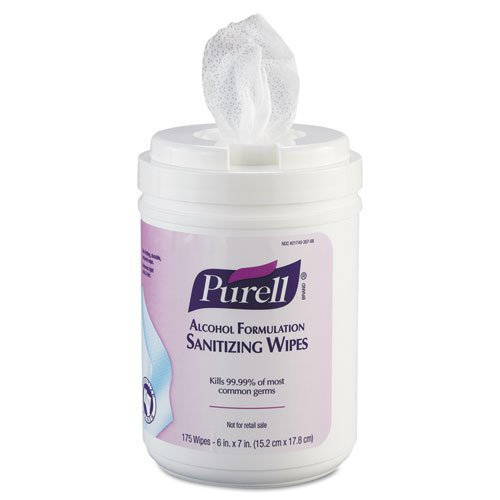 PURELL Premoistened Sanitizing Wipes, Alcohol Formulation, 6 x 7, White, 175/Canister - six canisters of 175 wipes, 1050 wipes per case. by ()