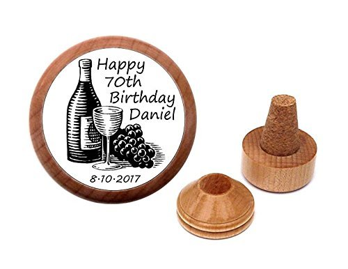 Personalized 70th birthday gift present wine stopper and cork holder.