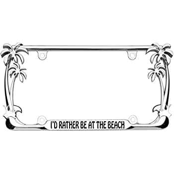 Amazon.com: I\'d Rather be at the Beach Palm Tree Design Chrome Metal ...