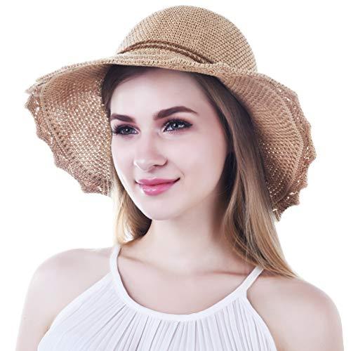VBIGER Sonnenhut Damen Faltbarer Strohhut Damen Strandhut Damen mit schöner Schleife…